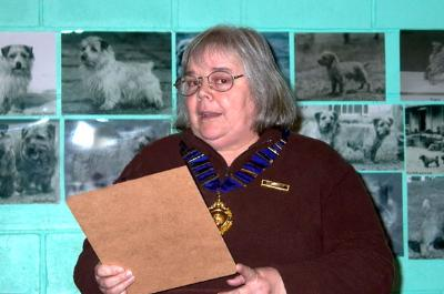 Dorothy Dorkins gave the President's Introduction  and afterwards presented the members' annual trophies and awards