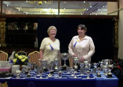 Cherry Stones and Jane Lloyd with their brilliant display of Club trophies, prizes and Specials.