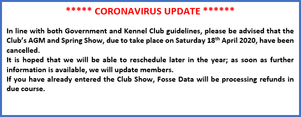 Coronavirus update - Spring show and AGM cancelled