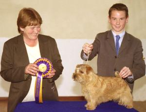 Jill Stevenson, judge of Junior Handling, with the winner James Hammond from Dublin with his Nordach Magic Moments.
